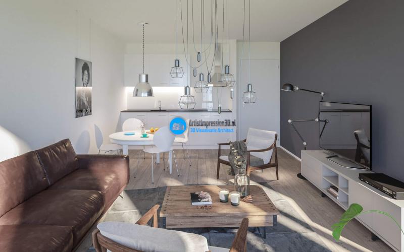 Keuken Impressie in 3D Roosendaal