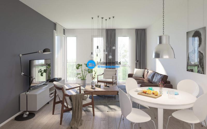 Interieur Appartement Impressie in 3D Roosendaal