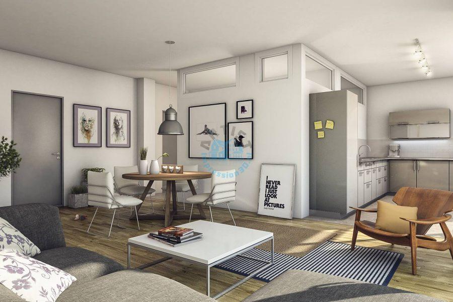 interior huiskamer en keuken