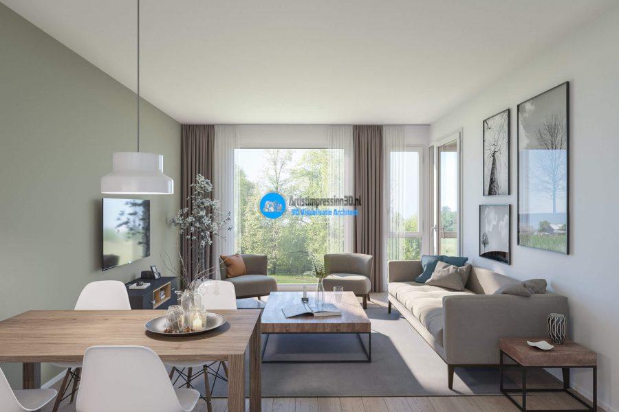 3D Interieur Impressie Woning Roosendaal