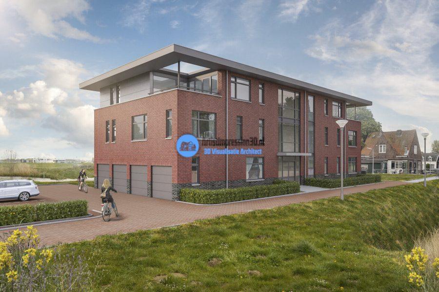 3D Artist Impression Huizenblok in Woonwijk Halfweg
